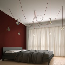 Suspension multiple OCTOPUS 7 lampes - câble textile extra-souple rouge