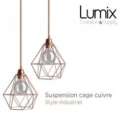 Lampe suspendue cage cuivre XXL forme diamant