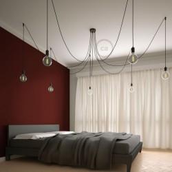 Suspension multiple OCTOPUS 7 lampes - câble textile extra-souple rouge