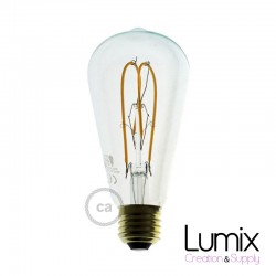 Ampoule ST64 LED double boucle - verre transparent - 5 W / 220 Volts