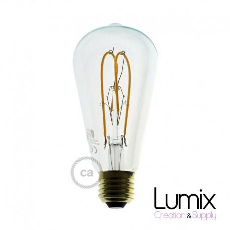 Ampoule ST64 LED double boucle - verre transparent - 5 W / 220 Volts