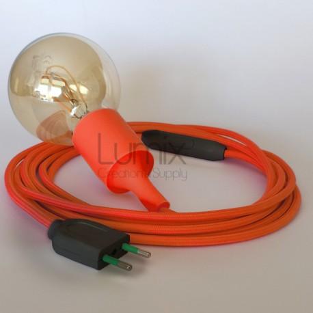Lampe baladeuse à douille silicone orange et câble textile orange