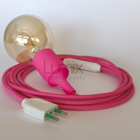 Lampe baladeuse à douille silicone noisette et câble textile whiskey