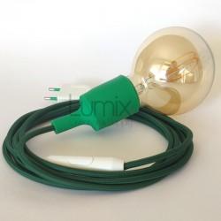 Lampe baladeuse à douille silicone rose et câble textile fuschia