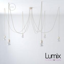 Suspension multiple OCTOPUS 6 Céramique ivoire - câble textile extra-souple coton ou lin