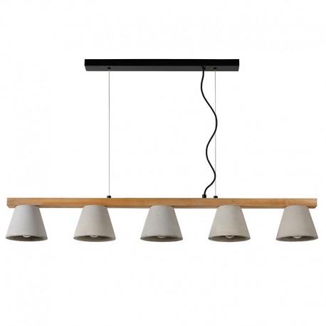 Suspension poutre POSSIO métal, bois & béton 5 lampes
