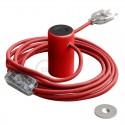 Lampe baladeuse Magnetico®-Plug 3 m de câble textile Rouge