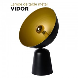 Lampe de table demi-circulaire en métal diamètre 57 cm
