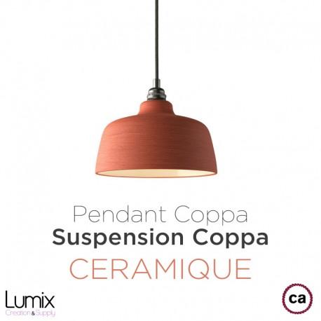 Suspension COPPA forme cloche en céramique couleur Corail fait main