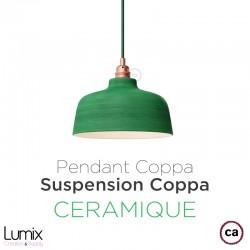 COPPA pendant lamp in green leaf ceramic, handmade