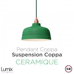 Suspension COPPA forme cloche en céramique Bleu de Cobalt fait main