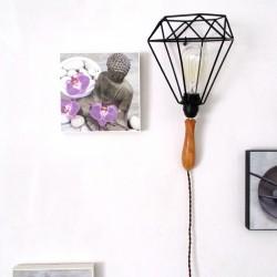 Lampe type baladeuse design en applique - 110/220V - Bois de cerisier et abat-jour métal