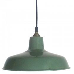 Ancienne suspension émaillée de couleur verte type industriel