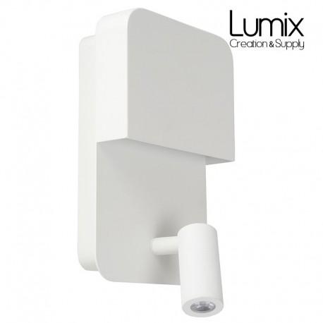 Applique murale de chevet à LED avec point de rechargement USB