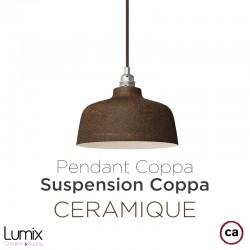 COPPA bell-shaped pendant lamp in rust-colored ceramic, handmade