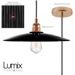 Hanging lampshade flat ceramic black enamel copper interior