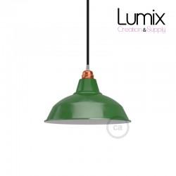 Abat-jour Bistrot diamètre 30 cm métal revêtement en émail vert et intérieur blanc