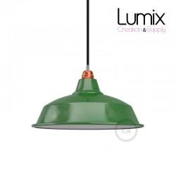 Abat-jour Bistrot diamètre 38 cm métal revêtement en émail vert et intérieur blanc