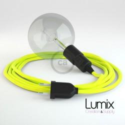 Lampe baladeuse E27 câble textile JAUNE FLUO, douille thermoplastique avec interrupteur intégré