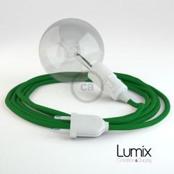 Lampe baladeuse E27 câble textile VERT FONCÉ, douille thermoplastique avec interrupteur intégré