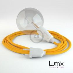 Lampe baladeuse E27 câble textile LIN GRIS, douille thermoplastique avec interrupteur intégré
