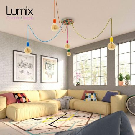 Suspension multiple 5 lampes grande rosace aluminum imprimé motif palette couleur