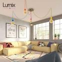 Suspension multiple 5 lampes grande rosace aluminum imprimé motif palette couleurs
