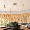 Suspension multiple 5 lampes grande rosace aluminum motif tronc d'arbre