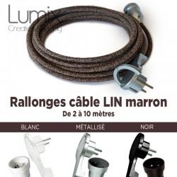 Rallonge de 2 à 10 mètres de câble textile en lin naturel marron