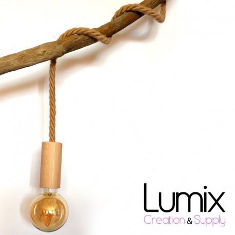 Lampe baladeuse grosse corde en jute de diamètre 16 mm et porte-douille bois