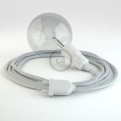 Lampe baladeuse câble textile ARGENT, douille thermoplastique avec interrupteur intégré