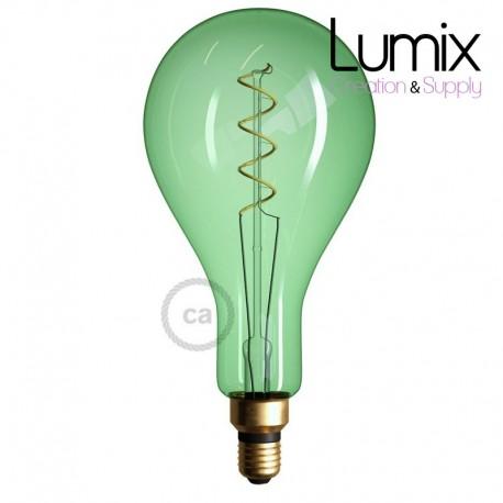 Ampoule vert emeraude  XXL LED - Poire A165 Filament courbe avec Double Spirale 5W E27 Dimmable 2000K
