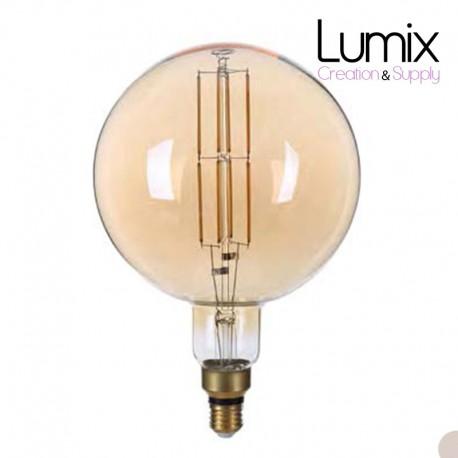 Ampoule Globe Géante diamètre 200 mm 1800°K verre teinté doré 8 W - 220V/E27 -810 LUMENS-DIMMABLE