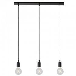 Suspension FIX MULTIPLE 3 lampes E27 - rosace plafond rectangulaire métal Noir 75 cm