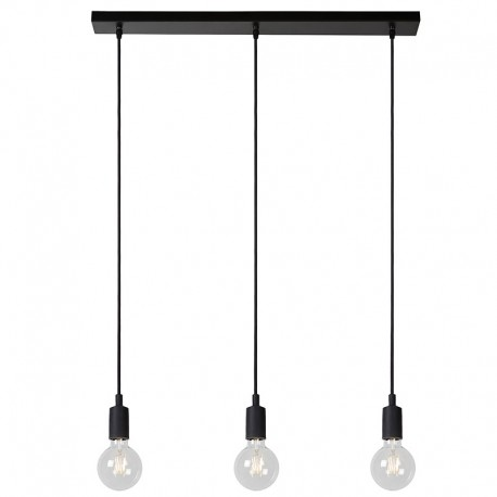 Suspension FIX MULTIPLE 3 lampes E27 - rosace plafond rectangulaire métal Noir 75 cm