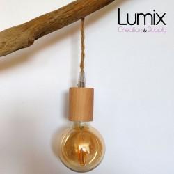 Lampe baladeuse à suspendre câble torsadé en jute et douille bois