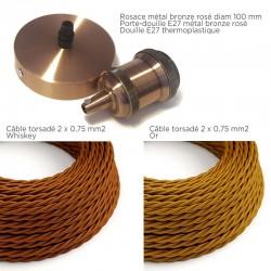 COMMANDE PRIVÉE - 15 m de câble textile torsadé, rosace et douille métal