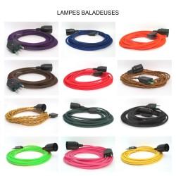 Lampes baladeuses fil textile couleur