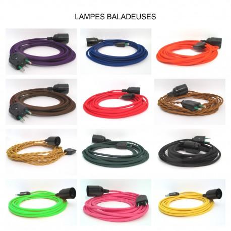 Lampe baladeuse E27 à personnaliser - câble textile, douille bakélite