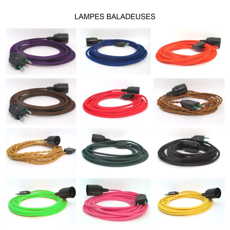 Cordon Electrique Pour Lampe lampe baladeuse douille bakélite avec câble textile aux choix