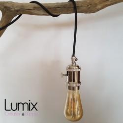 Lampe à suspendre douille vintage Bronze satiné à interrupteur rotatif intégré