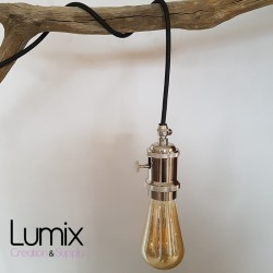 Lampe à suspendre douille vintage métal Nickel à interrupteur rotatif intégré