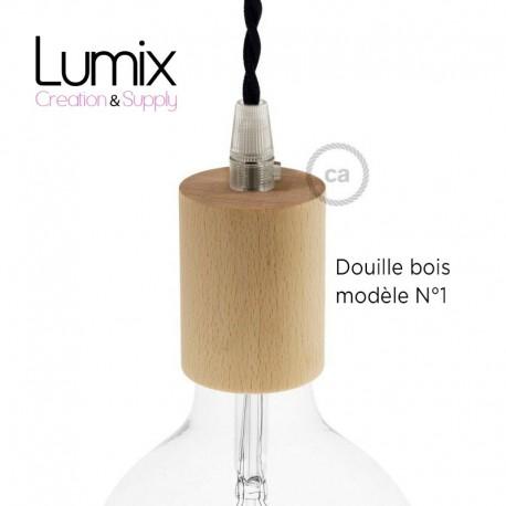 PRIVÉE - cable 2 m Jute avec porte-douille volante en bois