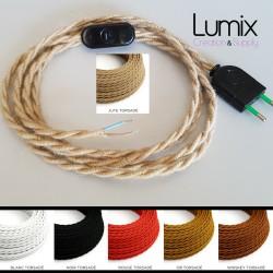 Cordon alimentation interrupteur vintage et câble torsadé couleur et longueur au choix