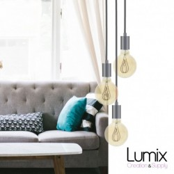 Suspension 3 lampes style moderne CHROME sur-mesure