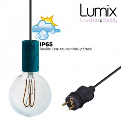 Hanging lamp for outdoor use - From 3 to 10 meters of IP65 textile cable - 3 colors of smooth sockets