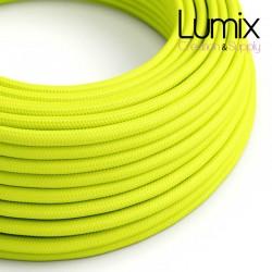 Câble textile 2 x 0,75 mm2 Jaune FLUO effet soie