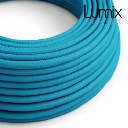 Câble textile 2 x 0,75 mm2 bleu turquoise effet soie