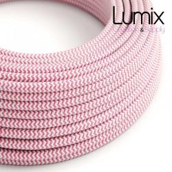 Câble textile 2 x 0,75 mm2 Zig-Zag Fuchsia effet soie