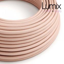 Câble textile 2 x 0,75 mm2 Rose clair effet soie